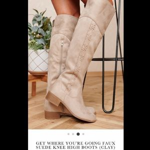 Faux-Suede clay Colored knee high boots